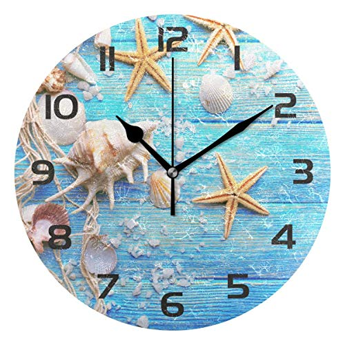 Dozili Seashell Starfish Blue Wooden Decorative Wooden Round Wall Clock Arabic Numerals Design Non Ticking Wall Clock Large for Bedrooms, Living Room, Bathroom