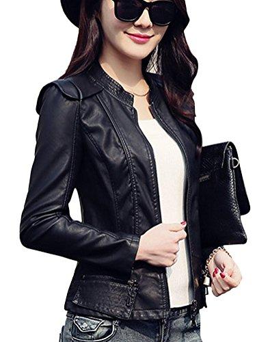 Noir Jacket en Biker Cuir Leather Fause Blouson Brinny Femme Tailleur APOwBq6q