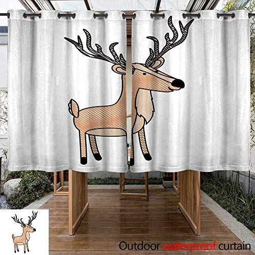 RenteriaDecor Outdoor Curtain for Patio Deer Cartoon with Long Horns in Colored Crayon Silhouette with Black Contour W96 x L72 -