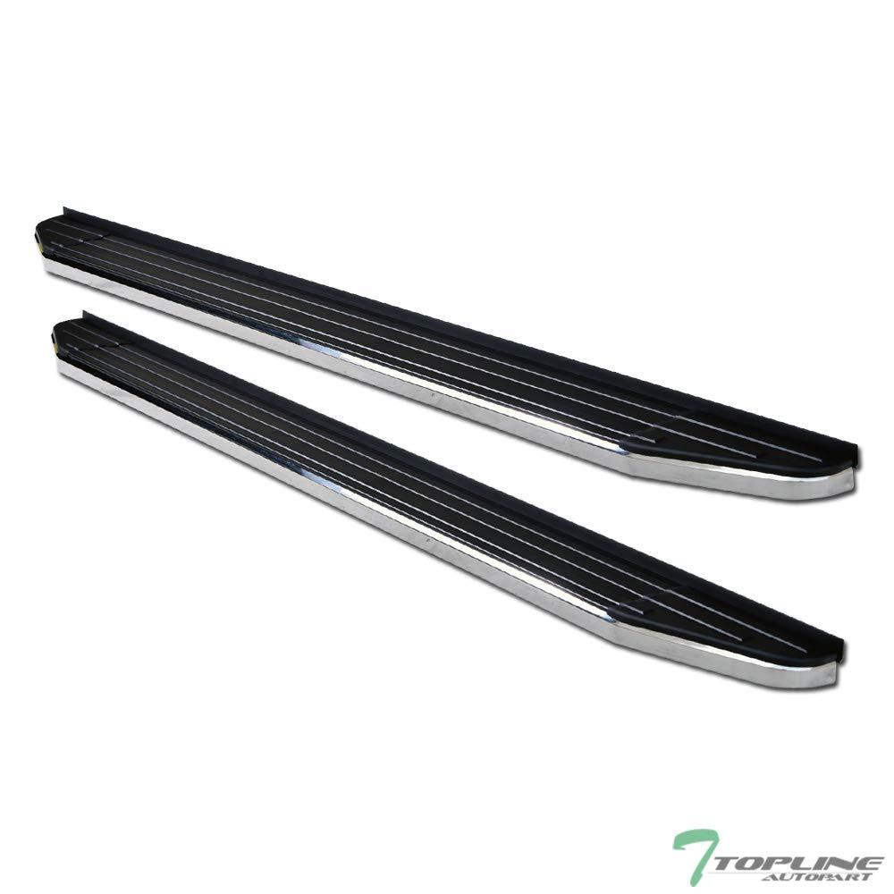 Topline Autopart 6'' VP Style Black With Chrome Trim Aluminum Side Step Rail Running Boards For 10-13 Toyota Highlander