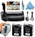 Multi Power Battery Grip + (2 Pack) Ultra High Capacity LP-E6 LPE6 Replacement Battery (2800mAh) for Prints + Lens Cleaning Kit for Canon EOS 5DM3 5DMIII 5DMark 5DMark3 5D Mark 3 III DSLR SLR Digital Camera (BG-E11 BGE11 Replacement)