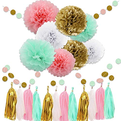 WAYSLA 30pcs Wedding Hanging Decorations,Pink Mint White Gold Bridal Shower Decorations Tissue Paper Pom Pom Tassel Garland Mint Pink Party Decorations for Mermaid Birthday Baby Shower Graduation