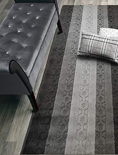 Custom Size Trellis Hallway Runner Rug Slip Resistant Rubber Back, 26 Inch Wide x Your Choice of Length Size, Anthracite, 26 Inch X 24 Feet, Sold and Priced Per Foot