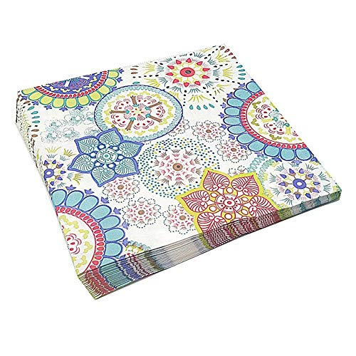 Meiosuns Napkins Floral Paper Napkins Tea Cups Paper Cocktail Napkins Decorative Napkin for Tea Party, Birthday (Kaleidoscope, 40 Count)