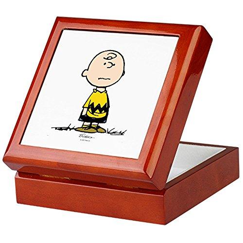CafePress - Charlie Brown - Keepsake Box, Finished Hardwood Jewelry Box, Velvet Lined Memento Box ()