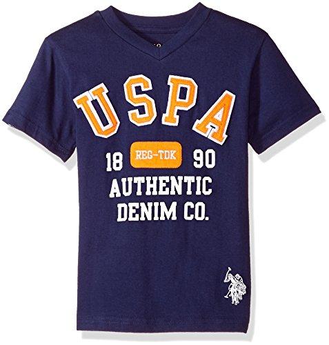 U.S. Polo Assn. Big Boys' Short Sleeve Fancy Crew Neck T-Shirt, Authentic Denim Printed Dodger Blue, 18