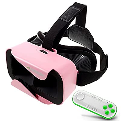 Pink VR SHINECON XiaoCang 3D Glasses Virtual Reality Headset + White Bluetooth Controller
