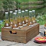 Vintage Finish Rustic Brown Wood 12 Slot Beer Bottle Serving Crate/Beer Storage Box w/Carrying Handles
