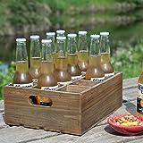 Vintage Finish Rustic Brown Wood 12 Slot Beer