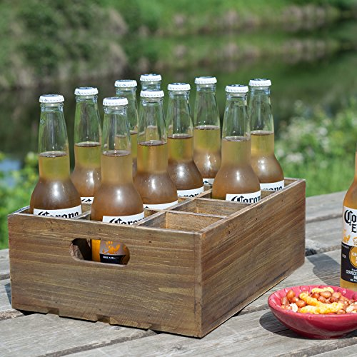 Wood Beer (Vintage Finish Rustic Brown Wood 12 Slot Beer Bottle Serving Crate / Beer Storage Box w/ Carrying Handles)