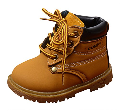 Toddler Warm Short Ankle Boot Pu Leather Shoes Toddler First Walkers Martin Boots Rubber Sole Yellow 12-15 Months by NINGQIUPI