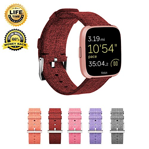 Bands Compatible Fitbit Versa,Replacement Woven Canvas Fabric Wrist Strap Quick Release Watch Band Accessories Classic Square Stainless Steel Buckle Fitness Smart Watch Women Men (Claret)