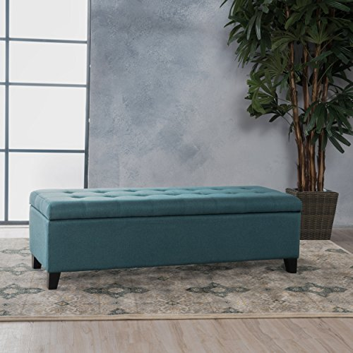 Sterling Dark Teal Fabric Storage Ottoman