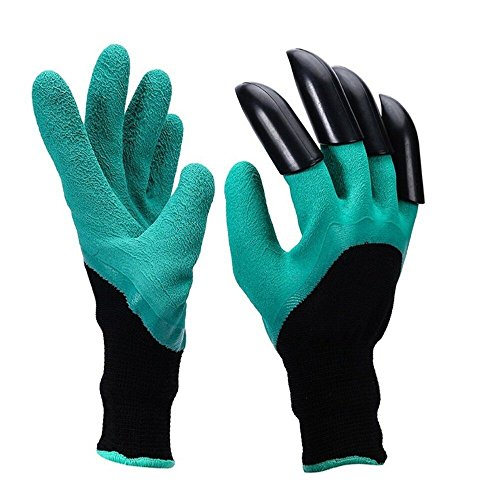 Kpow Garden Genie Gloves with Right Hand Sturdy Claws,Quick & Easy to Dig & Plant Nursery Plants,Safe for Rose Pruning - As Seen On TV