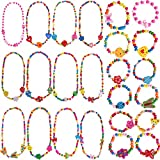 Outee 24 Pcs Girls Play Jewelry Toddler Costume Jewelry Princess Necklace Bracelet Set Jewelry Girls Play Dress Up Pretend Play Jewelry Kit Party Favors Xmas Gift
