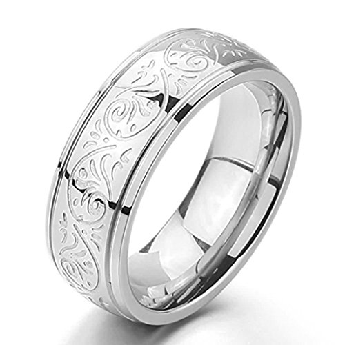 ANAZOZ Jewelry Men's 8mm Stainless Steel Ring Band Silver Engraved Florentine Design Size 8