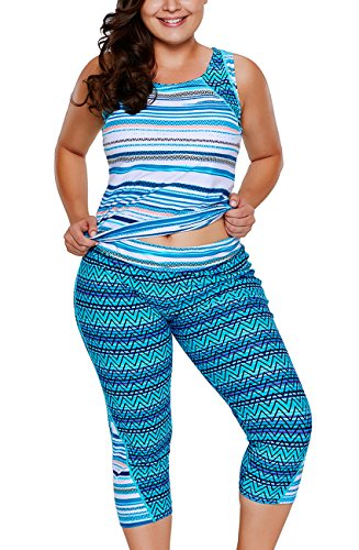 Pattrily Womens Plus Size Multiple Zigzag Print Tankini and Capris Set - Capri Halter Set