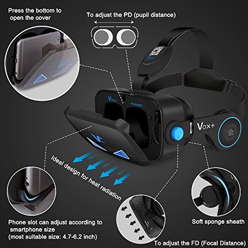 Vr Goggles With Headphones 3d Virtual Reality Goggles