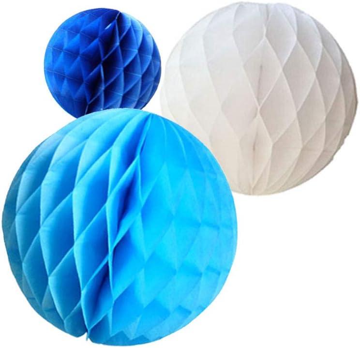 Daily Mall 15Pcs 3 inch 6 inch 8 inch Paper Honeycomb Balls Party Pom Poms Paper Balls Partners Design Art Craft Hanging Pom-Pom Ball Party Wedding Birthday Nursery Decor (White Blue Navy Blue)