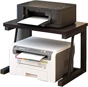 Printer Stands Printer Shelf Creative Wooden Printer Shelf Office Desktop Shelf Double-Layer Multi-Functional Simple Household Storage Rack Durable (Color : Black)