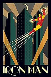 Iron Man - Marvel Comics Poster / Print (Art Deco Design) (Size: