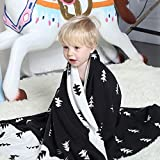 """YJBear North Europe Style Thin Soft 100% Cotton Knit Blanket for Kids/Children/Toddler Cartoon Warm Sleeping Throw Blanket for Baby Boys and Girls, Pine Tree, 29.5"""" X 39.3"""""""