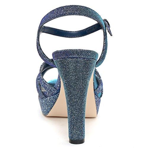 Alesya Scarpe&Scarpe - Sandalen mit Absatz, Lurex-Effekt und Riemchen Am Knöchel, mit Absätzen 11 cm Blau