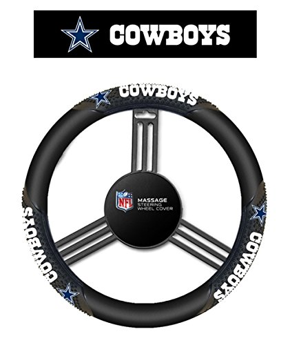 Fremont Die NFL Dallas Cowboys Massage Grip Steering Wheel Cover, Black, One Size