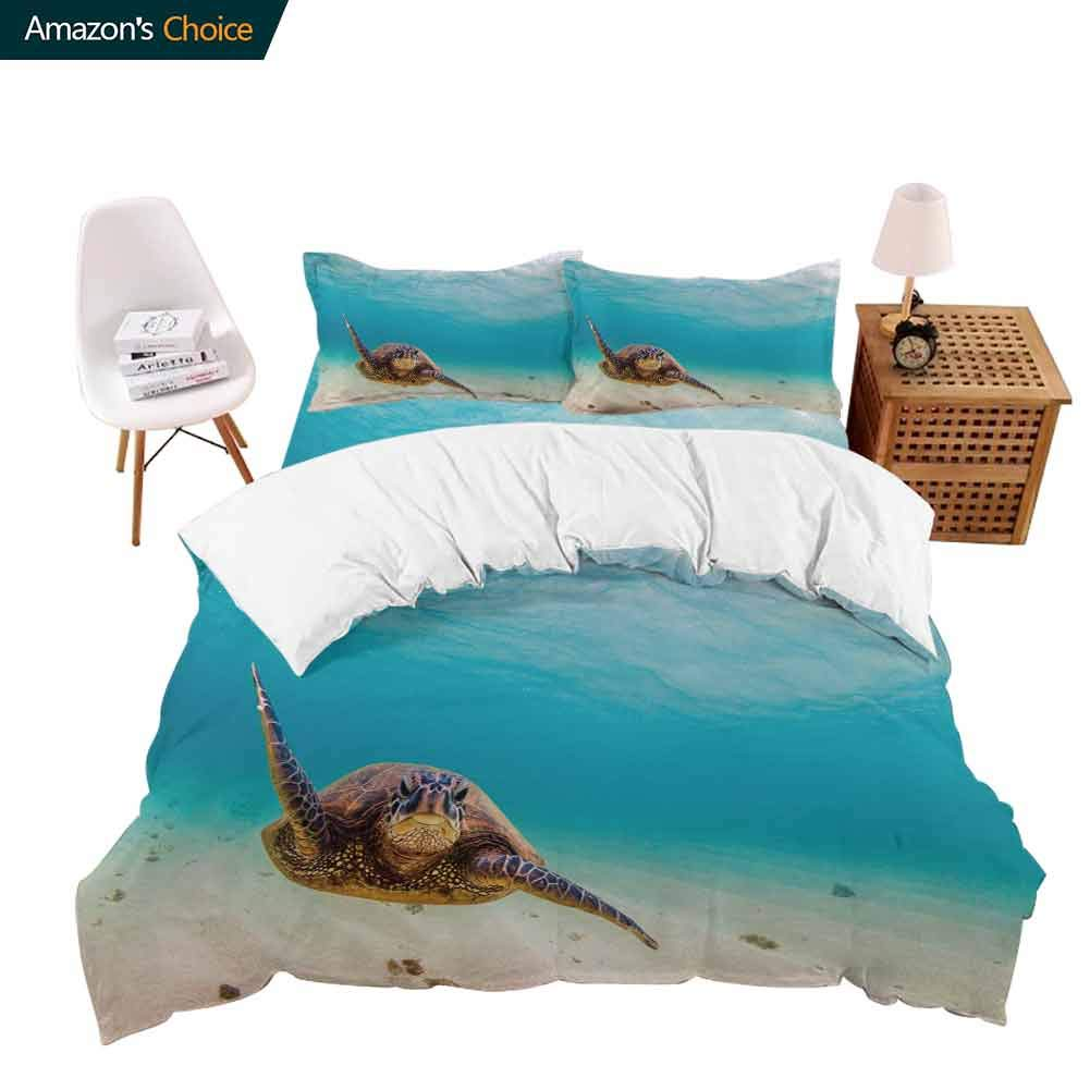 PRUNUSHome Bedding 4 Piece Bed Sheet Set Green Turtle Swim in Blue sea Water. Snorkeling with Tortoise. Crisp Bed Linen California King by PRUNUSHome