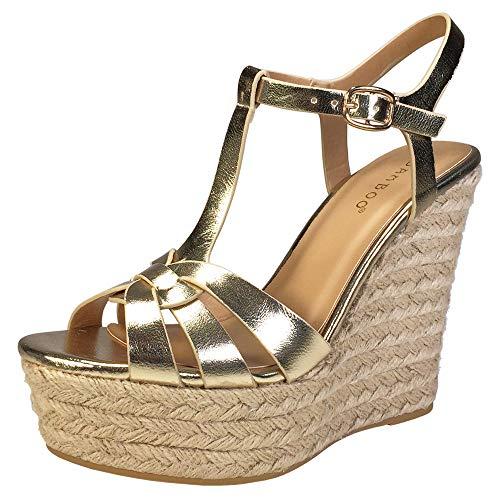 BAMBOO Women's Interwining T-Strap Espadrilles Wedge Platform Sandal, Gold PU, 8.0 B US