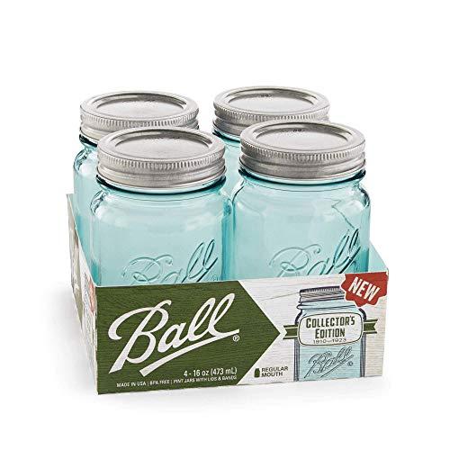 Ball Collectors Edition Vintage Regular Mouth 16 oz. Mason Jars in Aqua (Set of 4) ()