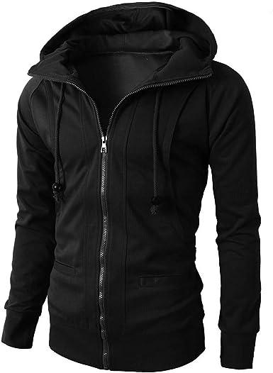 TTOOHHH Mens Solid Color Winter Zipper Hoodie Warm Down Jacket Lightweight Coat Outwear