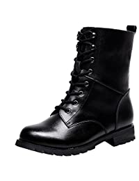 rismart Women Cool Black Calf Biker Boots Soft Smooth Leather Martin Boots Combat Boots