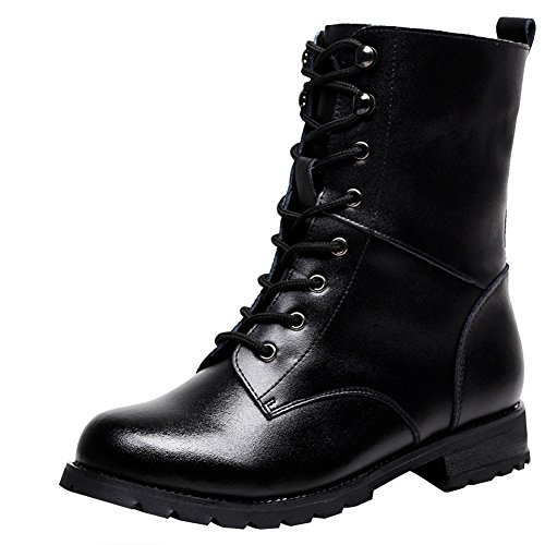 Rismart Women Cool Black Ankle Biker Boots Soft Smooth