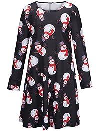 Women's Christmas Santa Claus Print Pullover Flared A Line Dress