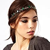 usongs Hot hair jewelry in Europe and America same paragraph flash diamond emerald hoop headband hair jewelry 13817
