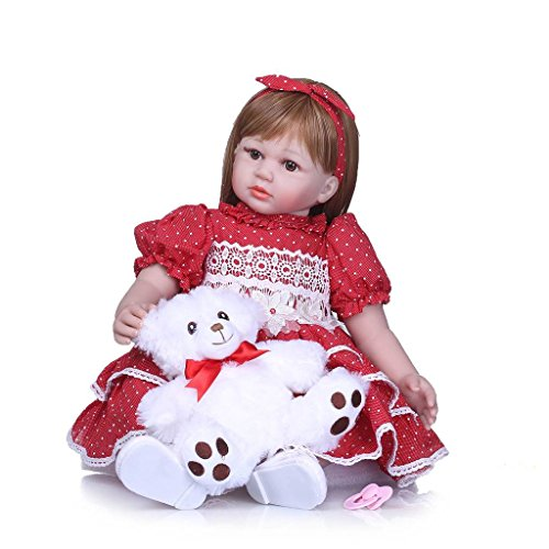 Nicery Reborn Baby Doll Soft Simulation Silicone Vinyl 24inch 60cm Magnetic Mouth Lifelike Vivid Boy Girl Toy Red Dress White Bear RD60C009W