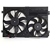 NEW Dual Radiator and Condenser Cooling Fan Assembly For Audi Volkswagen, Front