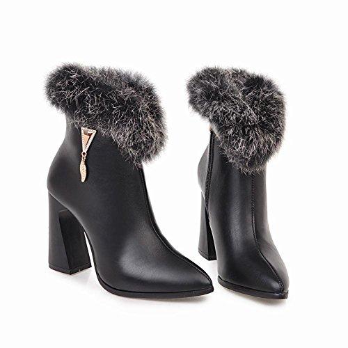 Mee Shoes Damen high heels spitz Strass Kurzstiefel Schwarz