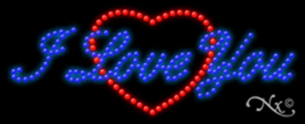 11x27x1 inches I Love You, Logo Animated Flashing LED Window Sign