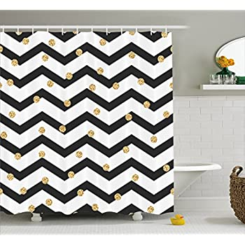 Chevron Shower Curtain By Ambesonne Zig Zag Symmetric Pattern With Gold Polka Dots Rounds Modern