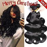 GEM Beauty Brailian Body Wave Virgin Hair 3pcs lot 100% Unprocessed Remy Human Hair Extensions Natural Black (12 14 16 inch)