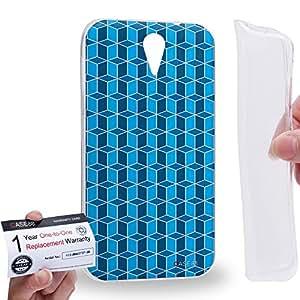 Case88 [HTC Desire 620] Gel TPU Carcasa/Funda & Tarjeta de garantía - Art Fashion Aqua Geometric 3D Blocks Art2199