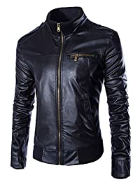 Men's Casual Slim Motorcycle Zipper Faux Leather Jacket