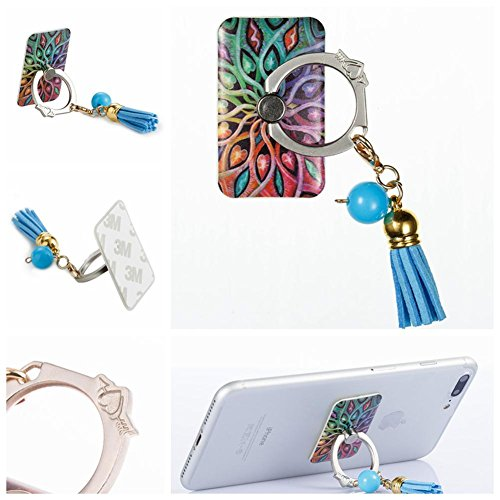 (Bling Ring Stand Holder,Firefish Smartphone Case Ring Stand Holder Universal Phone Ring Grip Loop Ring Mount 360 Rotate for iPhone Galaxy HTC Sony Ebook iPad and Other Tables-flower-2)