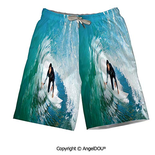 AngelDOU Summer Cool Quick Dry Board Shorts,City,Tranquil Sunrise at Midtown -