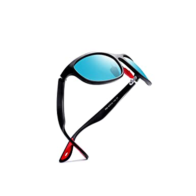 86260746f4 Kimorn Polarized Sunglasses For Men Goggle Sport Oval Frame Red Rubber  Temple K0624 (MatteBlack Blue)