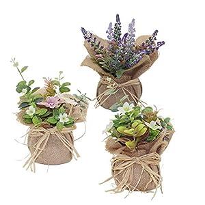 Kmkaren Artificial Flowers with Vase Plastic Mini Plants Unique Fake Fresh Artificial Flower in Natural Burlap Cloth Pot for Home Décor - Set of 3 27