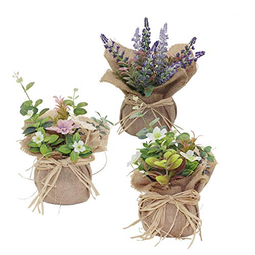 Kmkaren Artificial Flowers with Vase Plastic Mini Plants