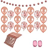 Rose Gold Bridal Shower Decorations Supplies Kit - Sequin Table Runners, Metallic Garland,Rose Gold Balloons (Confetti and Solid Latex)